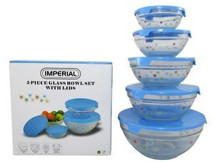 5 PC Glass Food Storage Container Mixing Bowl Set Blue Flower Blue Lids