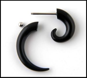 Pair Acrylic Black Spiral Fake Ear Plugs Fake Ear Gauges Cheaters Fake Taper