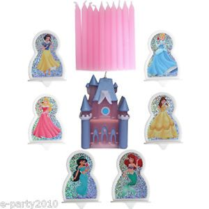 17pc Disney Princess Castle Candle Cake Topper Set Birthday Party Supplies