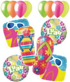 13pc Summer Flip Flop Balloon Bouquet Decoration Happy Birthday Party Luau Beach