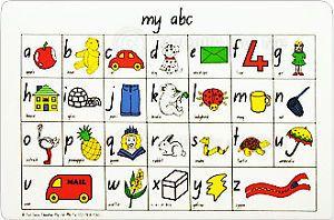 Childrens Educational Alphabet Vinyl Table Placemat New