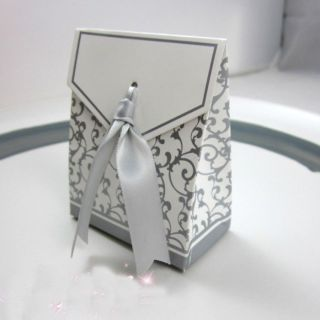 100pcs Silver Ribbon Wedding Favor Candy Boxes Silver Wedding Party Gift Box New