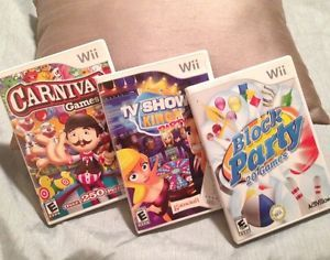 Lot of 3 Wii Family Fun Games Block Party TV Show King Party Carnival Games