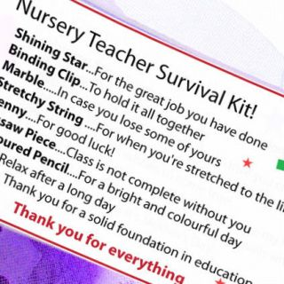 Nursery Pre School Teacher's Gift Thank You Present Teacher Survival Kit Card