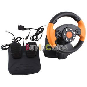 New 3 in1 USB Wired Vibration Gaming Racing Steering Wheel for PC PS3 PS2 Game