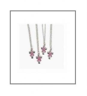 1 Breast Cancer Awareness Pink Ribbon Hope or Faith Silver Cross Necklace B222