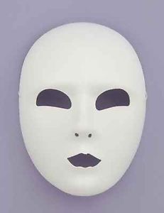 White Stiffened Cloth Adult Full Face Eye Mask Jabberwocky Costume Accessory