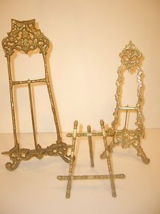 3 Vintage Brass Table Top Shelf Mantle Picture Art Plate Display Easels Bamboo