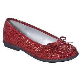 New Girls' Xhilaration Red Glitter Ballet Flats