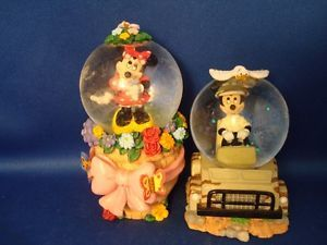 Disney 2 Mickey Minnie Mouse Mini Snow Globe Miniature Water Globes JC Penney