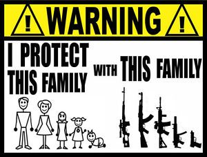 Warning Sticker Stick Family Gun Family Gun Sticker WS015