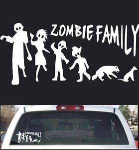 "Funny Stick Figure Zombie Family Rear Window Decal 12""x5"" New Design"