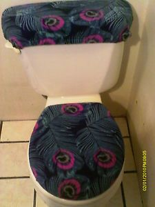 Peacock Feathers Toilet Seat Cover Set
