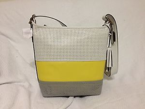 New Coach 22412 Legacy Perforated Rugby Stripe Duffle Lemon Yellow White Gray