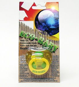 Billy Bob Eco Baby Pacifier Yellow Green Shower Gift Nipple Binky NUK Safe New