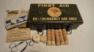 WWII US Army Medical Department Metal Motor Vehicle First Aid Kit Contents