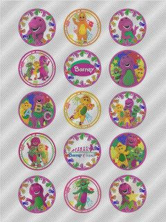 N525 Edible Icing Image Birthday Cake Cookie Cupcake Topper Barney The Dinosaur