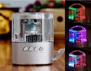Portable Crystal Speaker with FM Radio USB Flash Drive TF Card Reader Aux iPhone