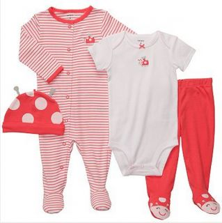 Carters Baby Girl Clothes 4 Piece Set Outfit Red White Ladybug 3 Months