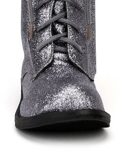 Jelly Bean Pemini New Glitter Lace Up Military Combat Boot Toddler Girl