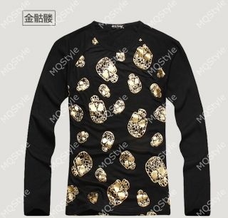 Mens Casual Crewneck Skull 3D Print Long Sleeve Hip Hop Stylish T Shirts N502