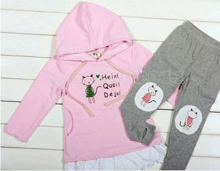 New Kids Toddlers Girls Long Sleeve Top Hood and Leggings Set Outfits AGE2 6Y