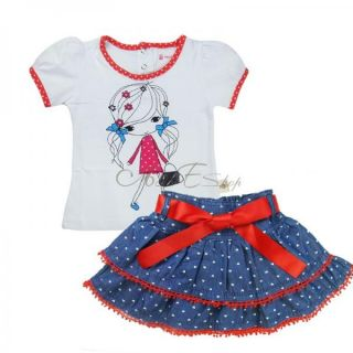 Lovely Baby Girls Top T Shirt Bow Dress Tutu Skirt 2pcs Oufit Clothes Sz 1 6 Y