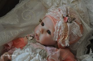 Peach Sherbot French Lace Dress Hat Blanket 4 Reborn Baby Doll