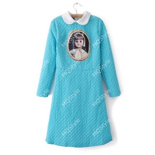 Womens Fashion Sweet Collar Porcelain Doll Girl Cameo Long Sleeve Dress B3196