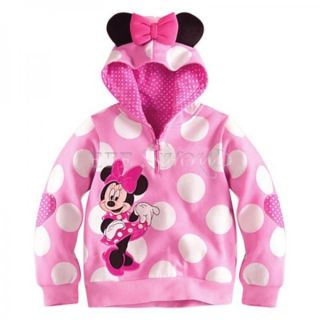 Polka Dots Toddler Girls Minnie Mouse Ears T Shirt Hooded Spring Fall Tops Sz 4T