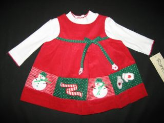 "New ""Snowman Mittens"" Dress Girls Winter Clothes 0 3M Baby Christmas Holiday"