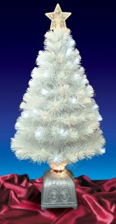 3' Pre Lit LED Color Changing White Fiber Optic Artificial Christmas Tree