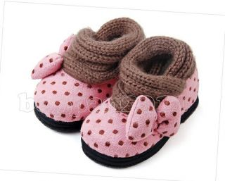 New Kids Girls Cotton Bowknot Princess Red Pink Coffee Winter Shoes Sz 7 5 11UK