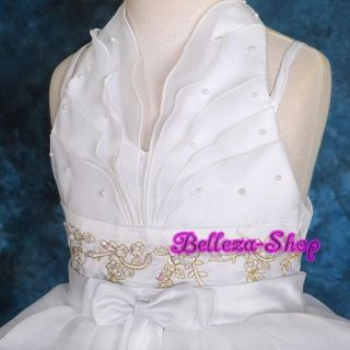 White Wedding Flower Girl Pageant Party Dress Sz 3T 4T