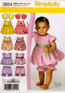 Simplicity Pattern 3854 Baby Clothes Dress Jumper XXS L