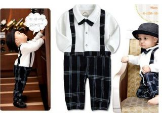 Baby Boys Outfit Romper Suit Tie Bow Wedding Birthday Christmas Party Outfit