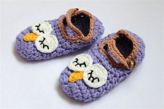 New Cute Handmade Knit Crochet Purple Owl Baby Hats Shoes Newborn Photo Prop
