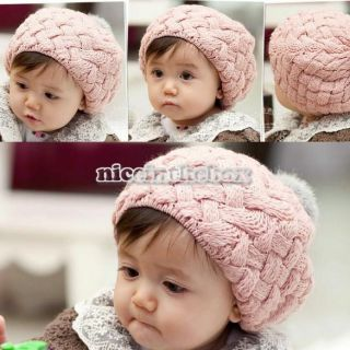 New Cute Baby Kids Girls Boys Winter Knit Crochet Beanie Hat Gift 3Colors N98B