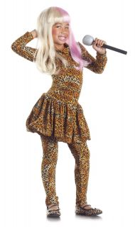 Leopard Print Bodysuit Nicki Minaj Costume Dress Child Kids Girl Rapper Rockstar