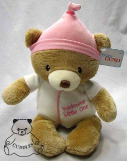 Welcome Little One Baby Girl Teddy Bear Gund Plush Toy Stuffed Animal Pink BNWT