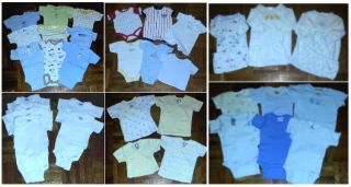 Lot of 34 Baby Boy Clothes Gerber Onesies Bodysuits Sz Newborn 0 3 Months