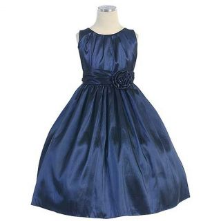 Sweet Kids Baby Girls Size 24M Solid Navy Pleated Christmas Dress