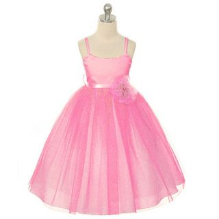 Kids Dream Girls 12 Fuchsia Metallic Ballerina Flower Girl Dress