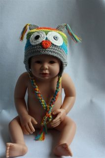 New Cute Handmade Knit Crochet Colorful Owl Baby Hats Shoes Newborn Photo Prop
