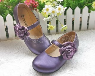 New Kids Girls Faux Leather Flower Princess Shoes Sz 8 5 1US 4 Colour Choose