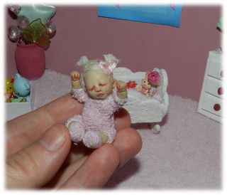 OOAK Miniature Cute Poseable Baby Girl Dollhouse Fairy Art Sculpture Iadr