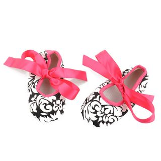 Infant Baby Toddler Girls Dot Zebra Stripe Damask Print Silk Ribbon Shoes Cute
