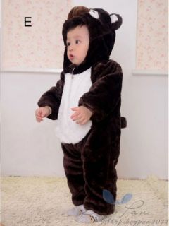Nice Baby Kid Toddlers Clothes Boys Girls Pure Color Animals Jump Suit AGES1 3Y
