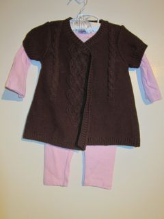 New First Impressions Pink Brown Leggings Sweater 3 Piece Set Baby Girls $52 50