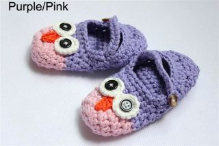 Cute Handmade Knit Shoes Newborn Baby Boy Photograph Purple Pink Owl 3 Size
